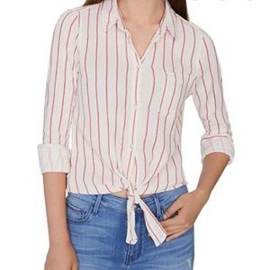 NWT Sanctuary Red Striped 100% Cotton Shirt